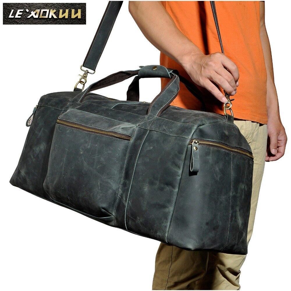 Uomini In Pelle Originale Large Duffle Capacità Sacchetto Dei Bagagli di Viaggio Uomo Fashion Designer Valigia di Corsa Della Spalla Tote Bag 3273