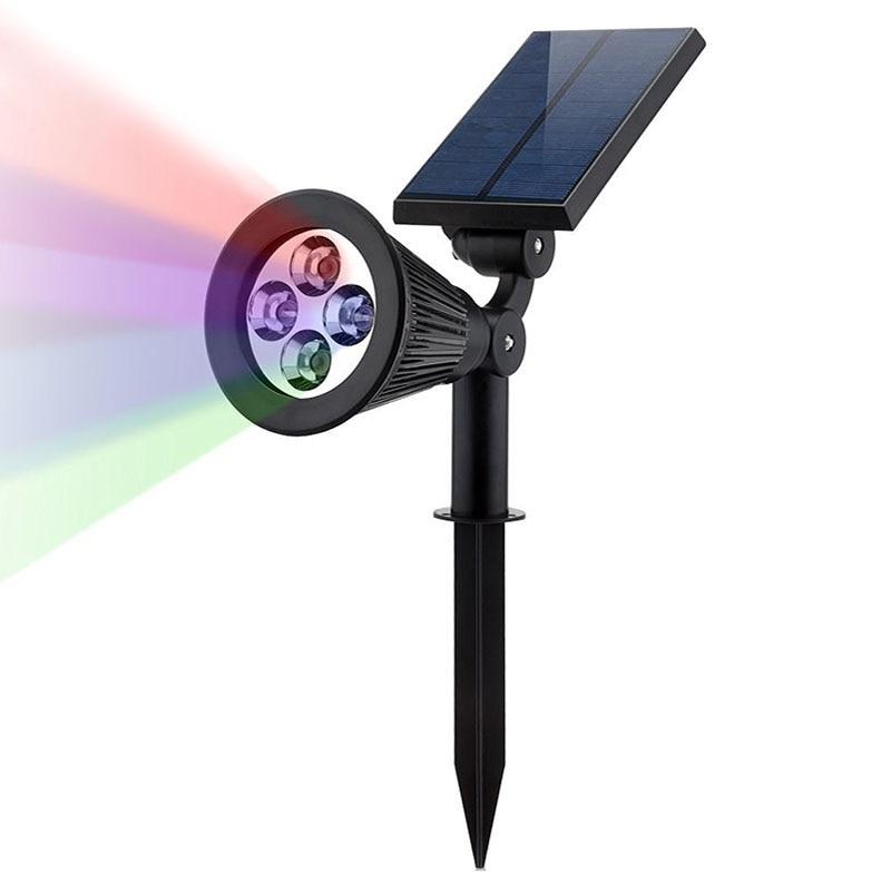 1PCS Solar Lamp 4LEDs RGB Solar Spotlight Color changeable IP44 Waterproof Outdoor Garden Landscape Yard Decoration Light