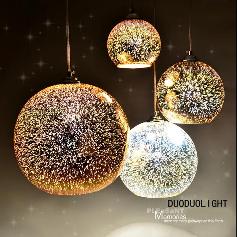 classique conception led lampe pendentif lumire diamtre 20 cm 3d color plaqu verre miroir boule pendante - Luminaire Boules Colores