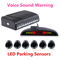 Voice Sound Warning Car LED Parking Sensor Monitor Auto Reverse Backup Radar Detector System + LED Display + 6 Sensors 2 Colors
