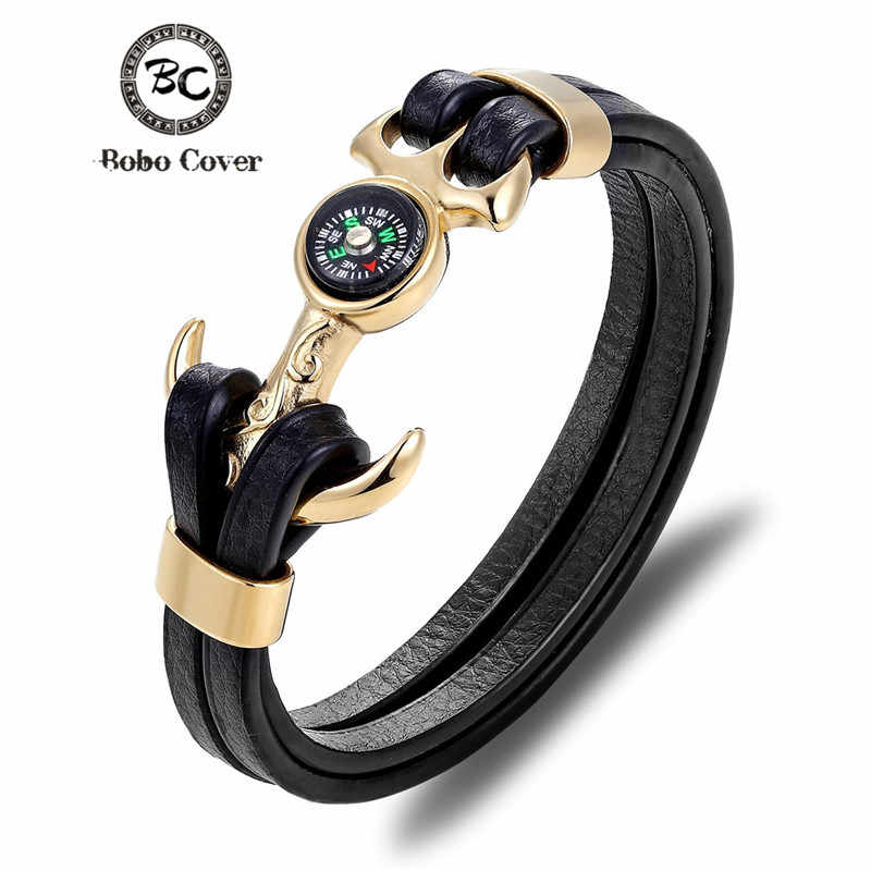 Fashion Multilayer Leather Stainless Steel charm Bracelet Skull Compass Anchor couple Survival bracelets bangles for Men women