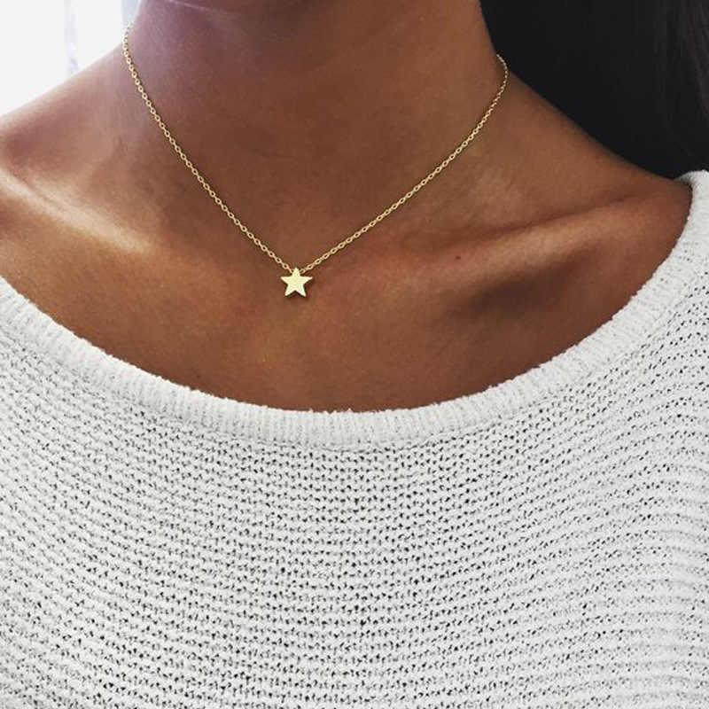 Novo Minimalismo Pequena Estrela Pingente Colares Para As Mulheres Senhoras de Ouro Cor Prata Cadeia Colar Gargantilha Mulheres Jóias Pentagrama