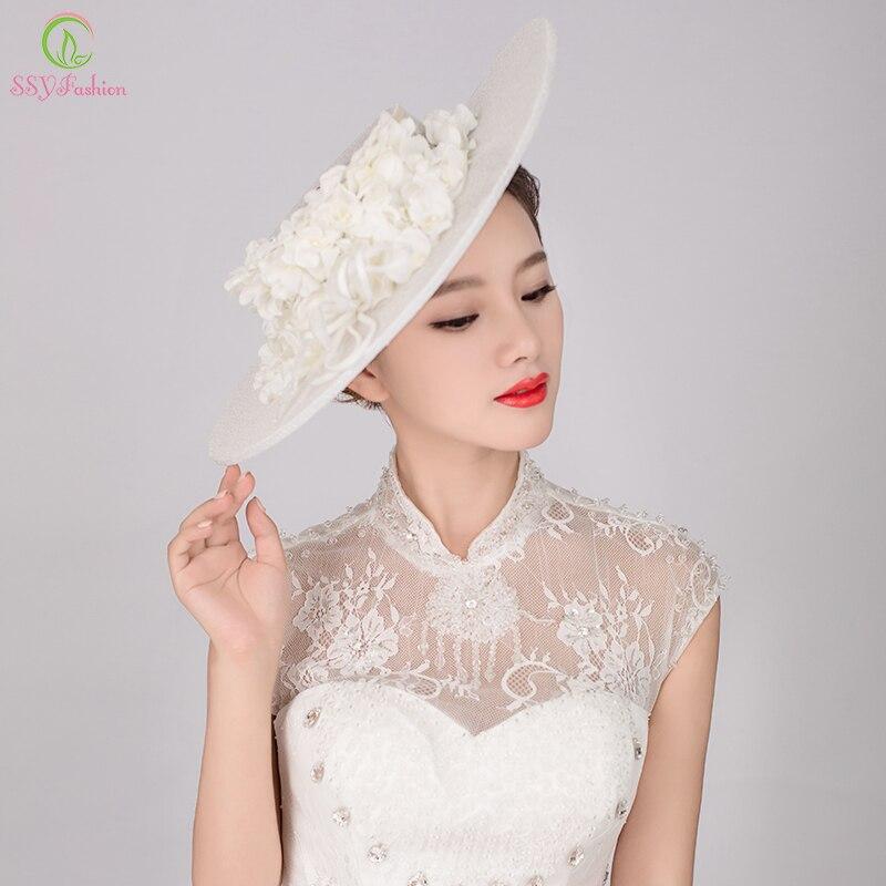 ssyfashion chapeaux de marie la main gaze dentelle fleur vintage lgant cheveux coiffe chapeau de - Aliexpress Mariage