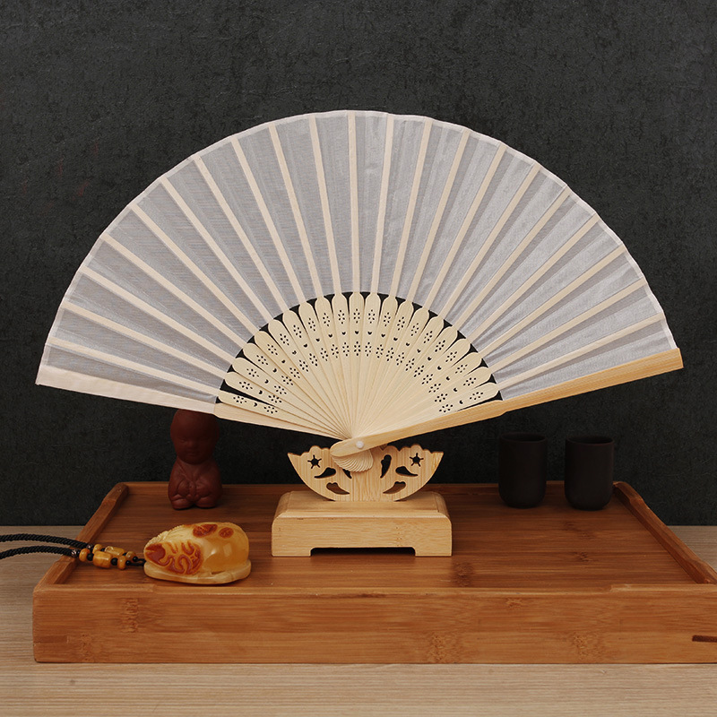 ELEG-50pcs Elegant White Folding Silk Hand Fan With Organza Gift Bag Wedding Gift & Party Favors(white)