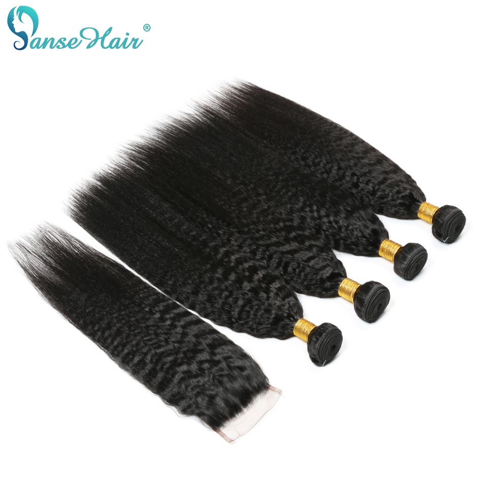 Kinky Straight Brazilian Hair Weave Bundles 4 Bundles With One Lace Closure 4X4  Human Hair Weaving Panse Hair Non Remy Hair