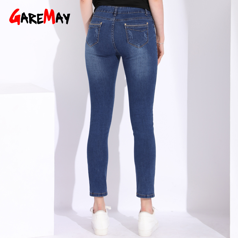 Alta Baqueros Más Mujeres Lápiz Jean Garemay Calcas Pantalones Stretch Denim Tamaño Feminina Skinny Mujer Elástico Cintura Jeans De Blue Femme FwqxUd4q