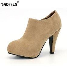 TAOFFEN envío gratis zapatos de tacón alto de las mujeres sexy vestido calzado dama de la moda femenina bombas P13165 venta caliente el tamaño EUR 32-43
