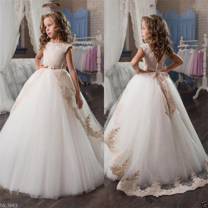 Champagne Evening Flower Girl Princess Pageant Wedding Prom Birthday Ball Gown Girls Clothes new 2018 summer elegant pink flower princess wedding girls dress kids baby ball gown birthday evening prom dresses clothes