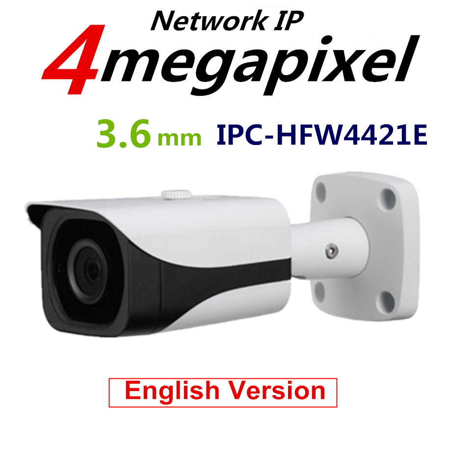 DaHua Original English Version 4MP WDR PoE Bullet Camera IPC HFW4421E Vandalproof Camera With Fixed Lens