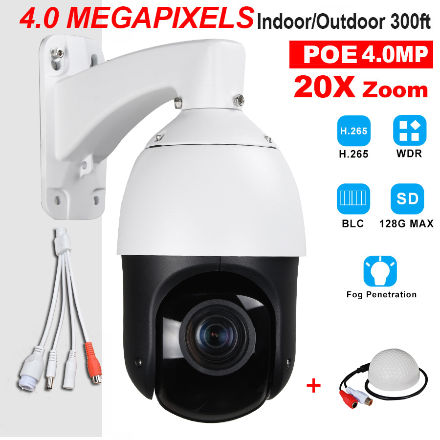 CCTV Security Outdoor IP66 H.265 H.264 High Speed POE 4.0MP 4MP IP PTZ Camera 4 Megapixels 20X Zoom ONVIF W/ Audio Microphone 7 h 265 4mp ip high speed dome ip camera 20x optical zoom 150m ir night vision outdoor waterproof ip66 ptz camera with wiper