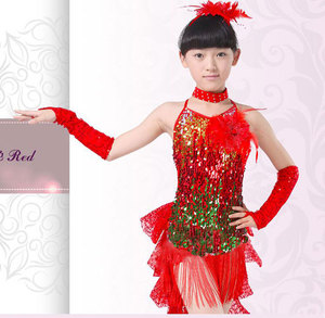 Image 5 - Платье для латиноамериканских танцев, костюмы для девочек, детская одежда, бальные платья для конкурсов, Модный Купальник с блестками и кисточками для сальсы