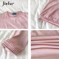 Jielur Korean Fashion Comfortable Stripe T Shirt Female Brief Slim Hipster Long Sleeve Tshirt Women Black White Autumn Top Femme 6