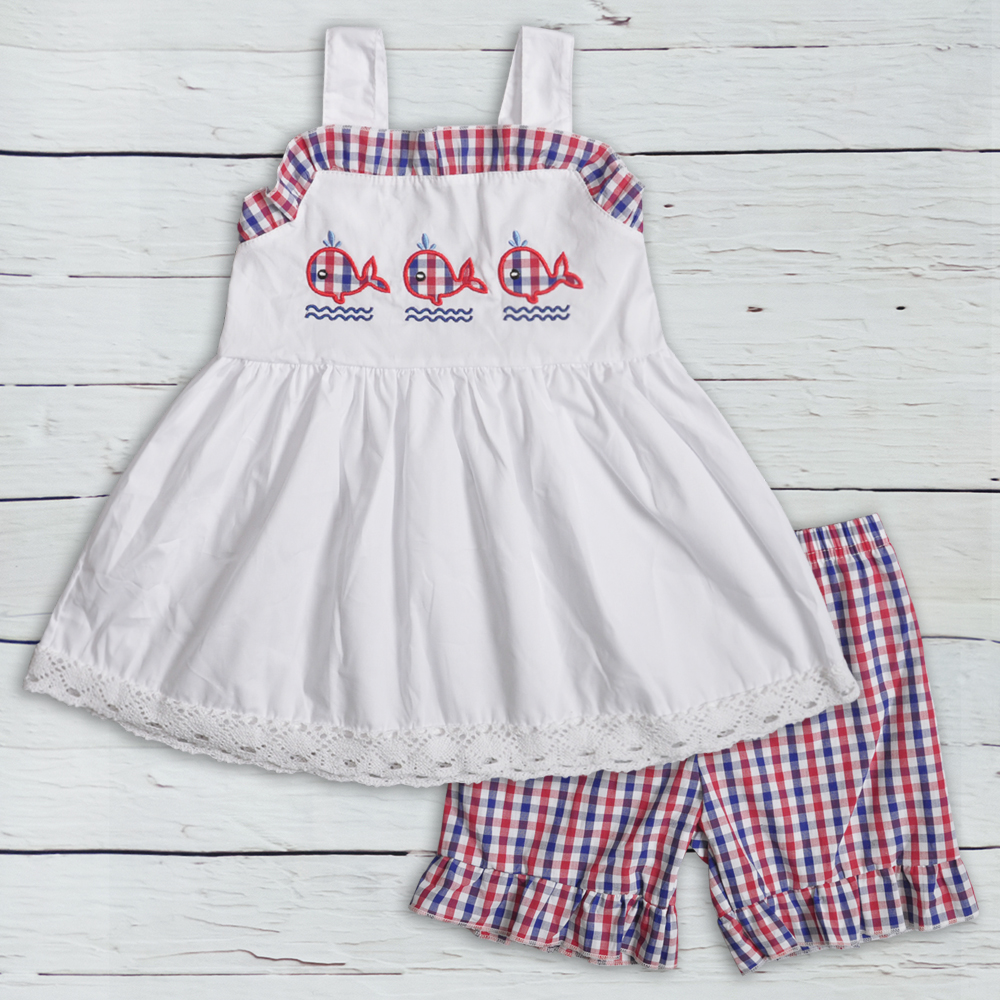 Summer Girls Clothes Woven Fabric Baby Clothing Embroidery Whale Sets Kids Remake Outfits Match Navy Boy Set 2GK903-1165-HYSummer Girls Clothes Woven Fabric Baby Clothing Embroidery Whale Sets Kids Remake Outfits Match Navy Boy Set 2GK903-1165-HY