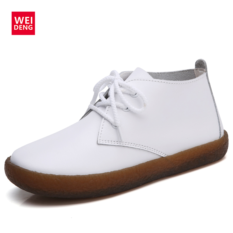 WeiDeng Lace Up 2017 New Autumn Solid Soft Genuine Leather Rubber Casual Non Slip Soft Comfortable Bottom Women Leisure Shoes weideng shoes women genuine leather cow suede casual oxford flats lace up non slip breathable fashion loafers zapato autumn
