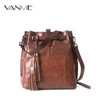 Hot 2017 New Female Bag European Style Genuine Leather Bucket Bag Vintage Tassel Messenger Bag Large