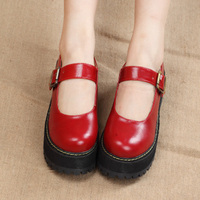 Women Creepers Pu Mary Jane Cosplay Women Flats Platform Ankle Strap Casual Ladies Loafers Shoes dropship