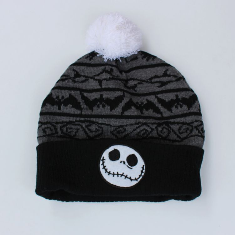 f708fb230679e the Night Before Christmas Jack Skellington Skull Cotton knitting Beanie Cap  Baby Kids Cartoon Winter Plush Soft Warm hat caps -in Skullies   Beanies  from ...