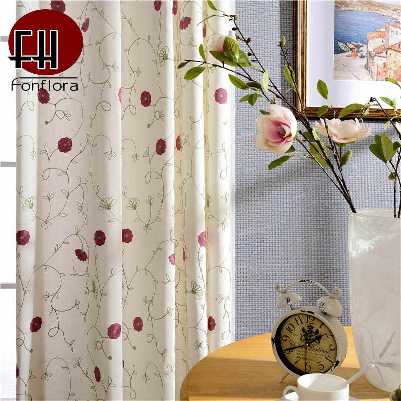 Red Flower Blackout Curtains For Living Room Bedroom Blue Embroidered Door Window Curtains Simple Drapes Fabric Custom Size Curtains Aliexpress