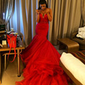 Hot Sale Evening Dresses Sweetheart Beading Red Mermaid Satin Long Train Weddings & Events Formal Gown Robe De Soiree 2017