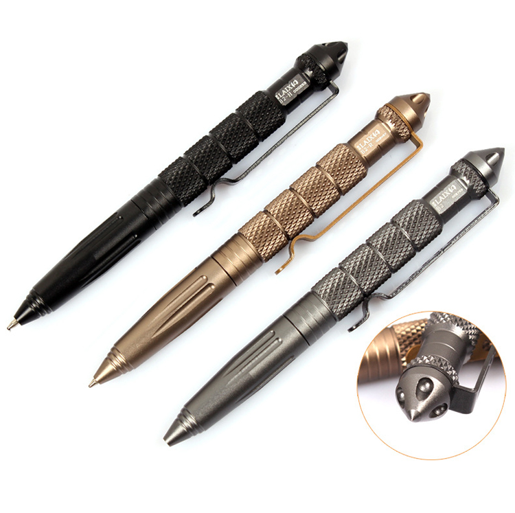 New Cool Black Ink Metal Ballpoint Pen Aviation Aluminum Alloy Anti-slip Self Defense Tactical Pen Multi-functional Tools Pen oumily aircraft grade aluminum alloy tactical defense writing pen w white led light rose red