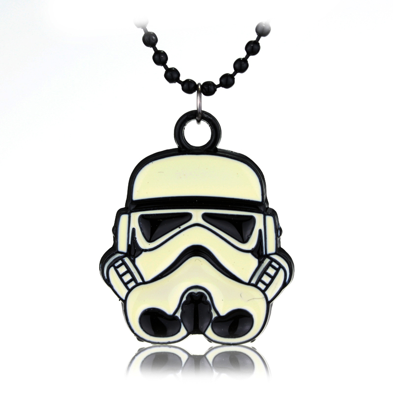 Fashion White Stormtrooper Pendants & Necklaces Star Wars Storm Trooper Warrior Black Bead Chain Pendant Necklace Movie Jewelry