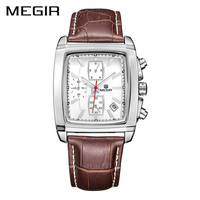 MEGIR Official Chronograph Watch Men Luxury Brand Quartz Military Dress Watch Genuine Leather Men S Wristwatch