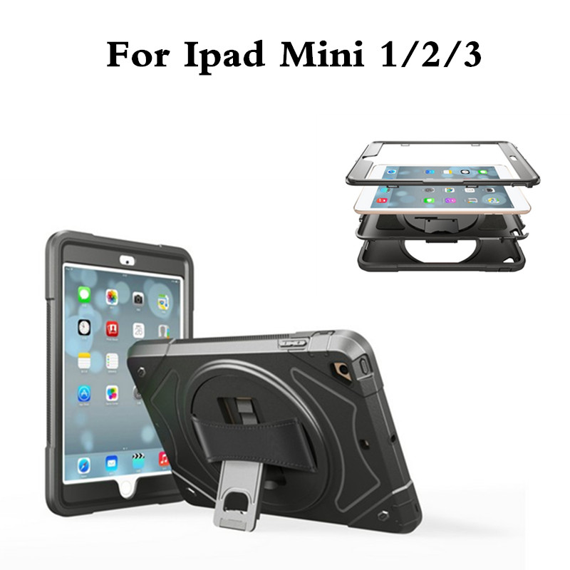 Hand held Stand Cases For iPad Mini 1 2 3 Case Retina Kids Armor Shockproof Heavy Duty Hard TPU PC Cover Protect For Mini2 Mini3 3 in 1 pc hard case armor w stand for iphone 6 white