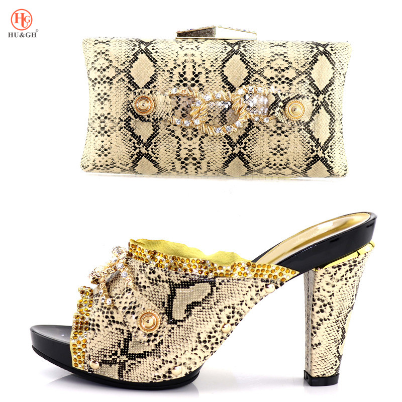 New Gold Color Italian Shoes and Bag Set Decorated with Rhinestone African Women Wedding Shoes and Bag Set Italian Shoes and Bag все цены