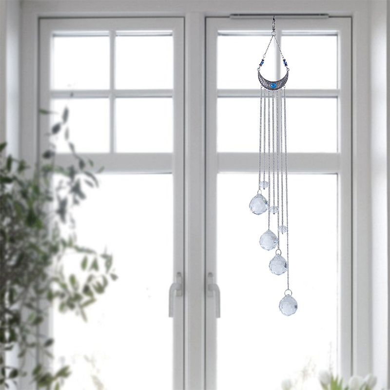 H&D Blue Evil Eye Wall Hanging Drops Rainbow Maker Crystal Suncatcher with Crystal Prism Balls for Home,Garden Window Decoration 4