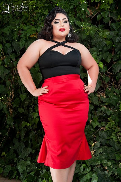 2713fa5a272 40- women vintage 50s wiggle ruffles mermaid pencil skirt plus size cotton  skirts in red black sexy pinup saia femininas faldas