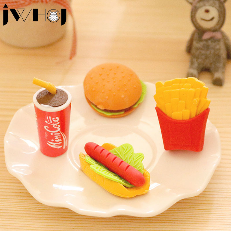 2 Pcs  Novelty KFC Burger Coke Fries Shape Rubber Eraser Kawaii Stationery School Supplies Papelaria Gift For Kids