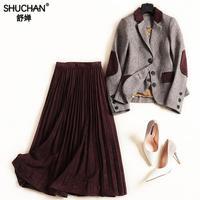 Shuchan женский костюм из двух предметов костюм женский s комплект блейзер + плиссированные юбки английский стиль Mid одежда для беременных для ж