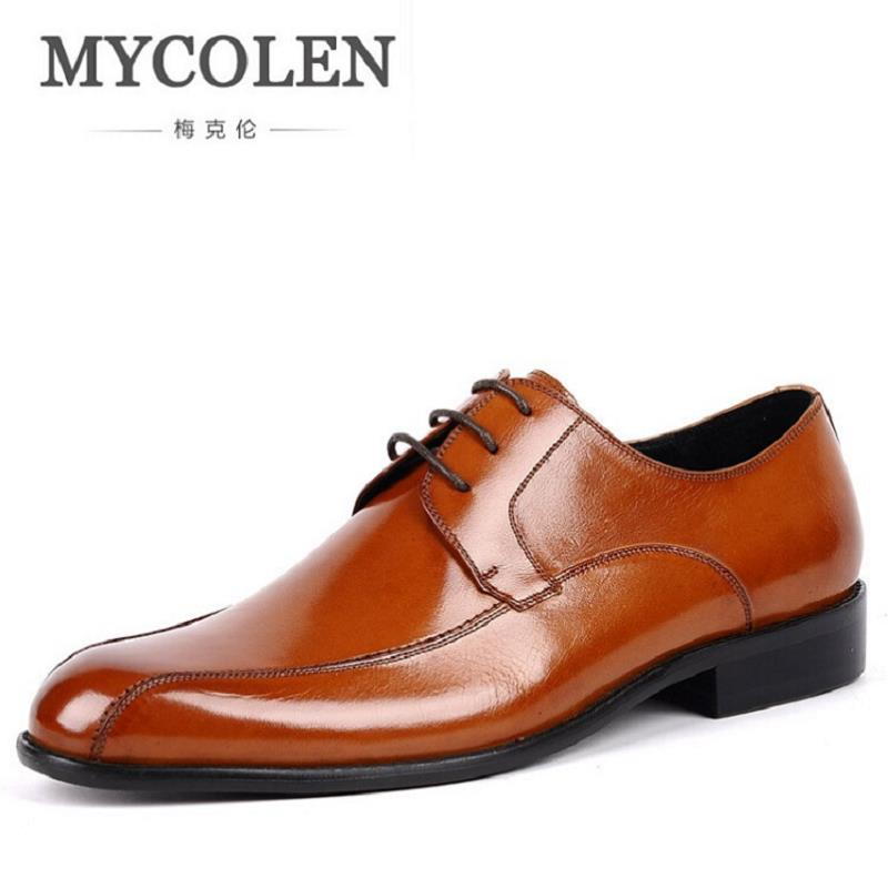 MYCOLEN New Genuine Leather Men Brogues Shoes Lace-Up Bullock Business Dress Men Shoes Minimalist Style Male Formal Shoes keddo womens lace up brogues