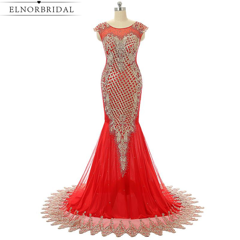 Red Formal Mermaid Evening Dress Long 2019 Arabic Imported Party Dress Sheer Beading Embroidery Tulle Celebrity Prom Gowns
