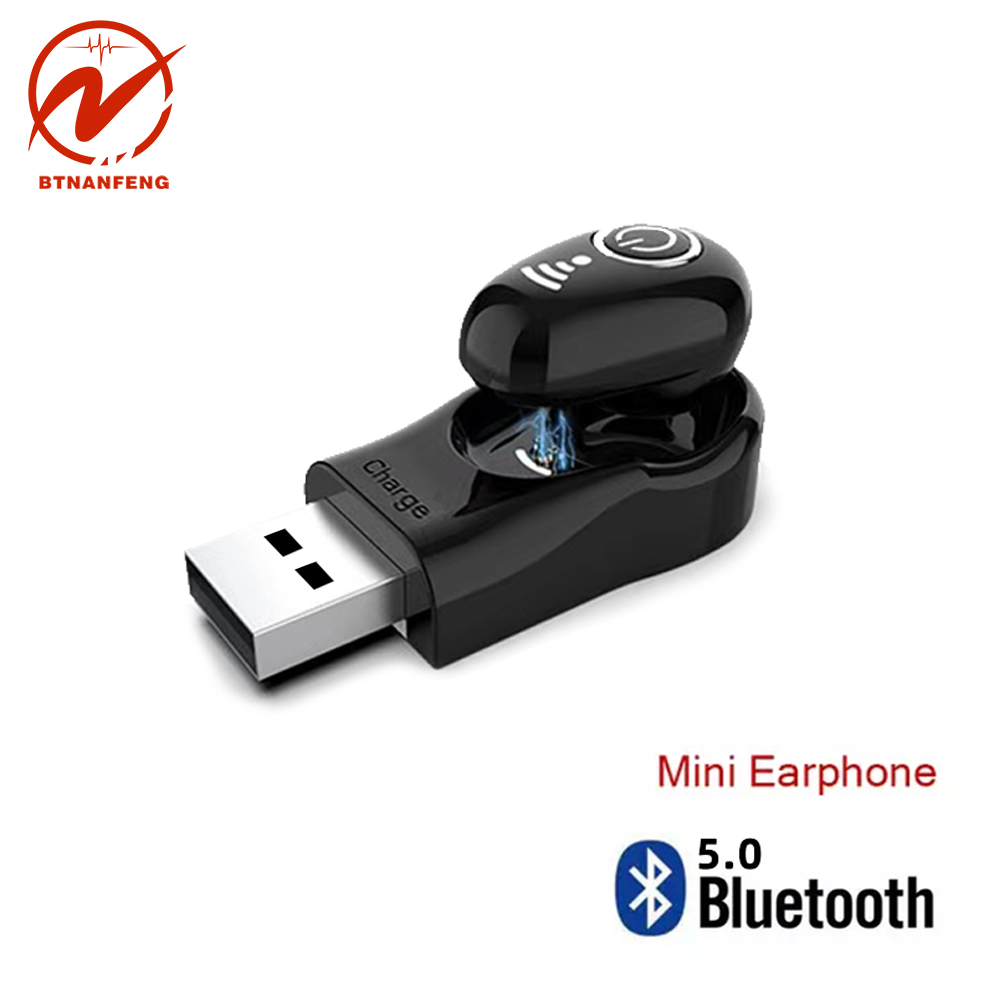 S650+ Mini Bluetooth Earphone Wireless Headset USB In Ear Invisible Earbuds Handsfree Headset Stereo with Mic for Phone compat-in Bluetooth Earphones & Headphones from Consumer Electronics