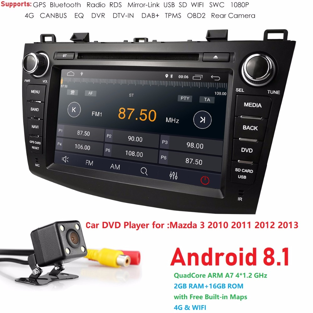 IPS 8 2 din voiture dvd radio stéréo Android 8.1 GPS pour mazda 3 mazda3 2010-2013 Wifi bluetooth multimédia magnétophone navi DAB +