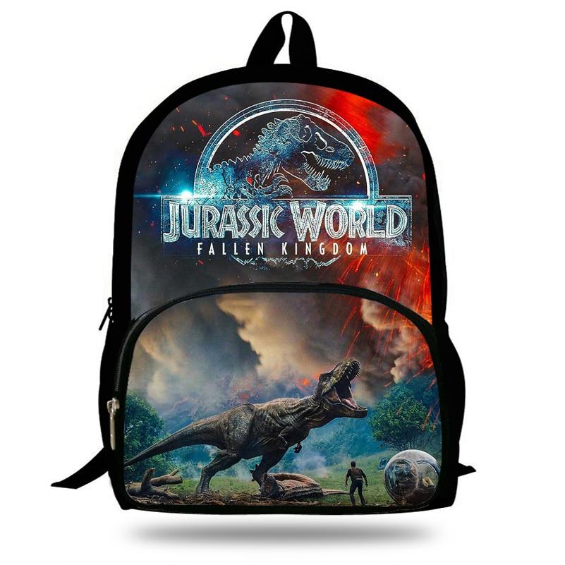 2019 Hot Jurassic World Printing Backpack 16 Inch Dinosaur Bags For Kids Fallen Kingdom Bag For Girls Boys Children School Gifts