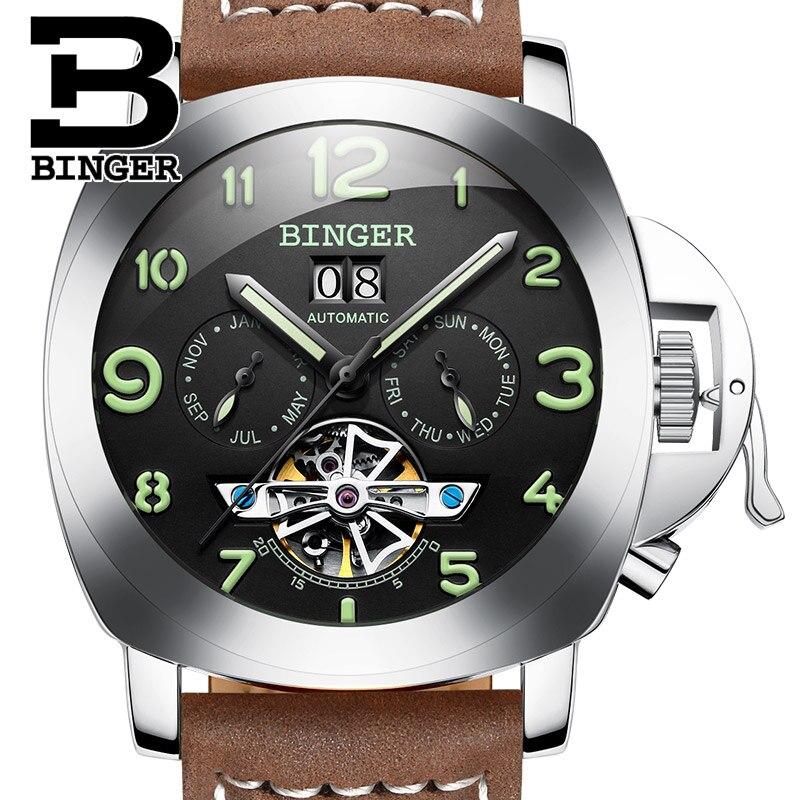 Switzerland luxury men s font b watch b font BINGER clock brand multifunctional font b military