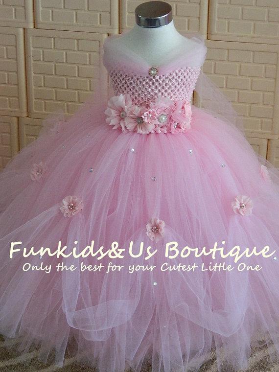 ФОТО 2017  Children's Light pink Princess Dress Length Dress Girls Trailing Wedding Dress Stage Costumes Tutu Veil Flower Girl Tutu