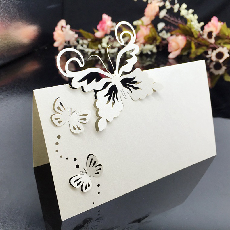 50pcs Butterfly Laser Cut Table Name Place Cards Favor Gifts Table Name Message Setting Card Wedding Birthday Party Supplies image