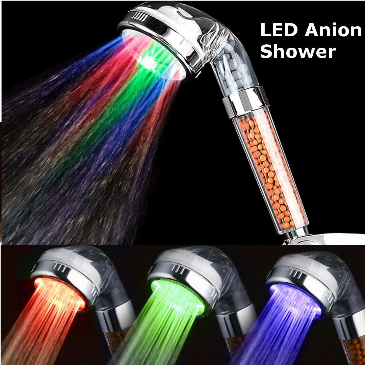 Xueqin Colorful LED Light Bath Showerhead Water Saving Anion SPA High Pressure Hand Held Bathroom Shower Head Filter Nozzle