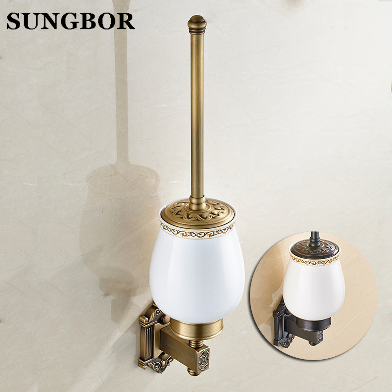 Free Shipping Wall Mounted Bathroom Accessories Brass Antique Toilet Brush Holder Ceramic Cup HY-93809F antique brush toilet brush holder luxury carved solid brass toilet cleaning holder ceramic cup bathroom accessories