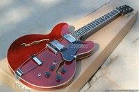 Venda quente jazz oco guitarra elétrica ES 335 corpo oco duplo F buracos. color.335 guitarra marrom brilhante. hollow versão jazz guitarra