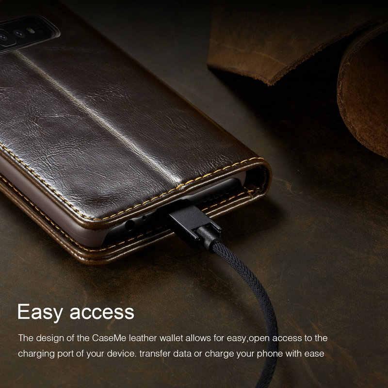 CaseMe Магнитный кошелек чехол для samsung Galaxy S10 класса люкс с двусторонним лезвием захлестывающийся чехол для Galaxy S10e Note 8 9 S6 S7 S8 S9 + чехол