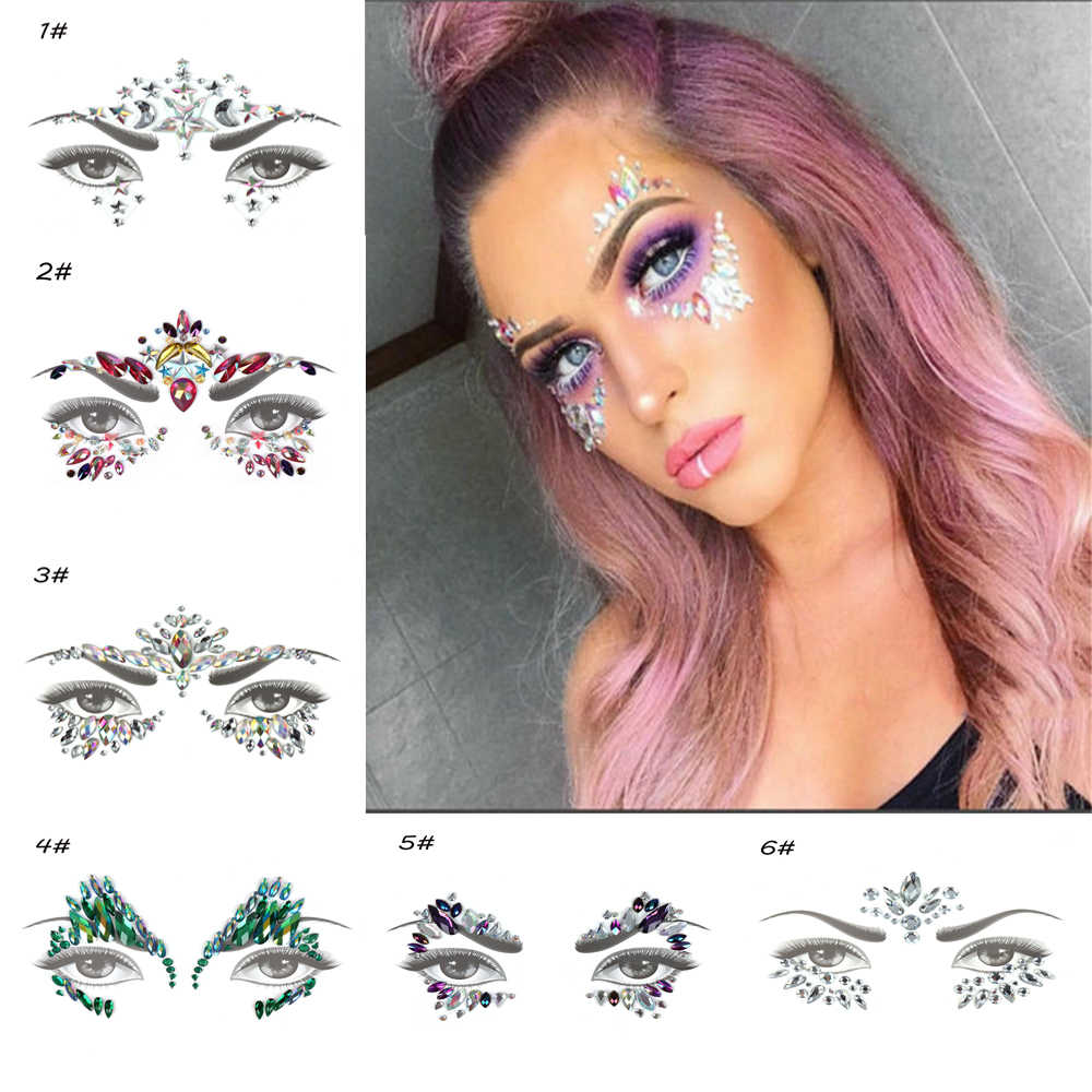 1PC Temporary Tattoo Sticker Face Jewelry Gems Rhinestone Decoration Party Festival Makeup Glitter Tattoos Body Art Stickers