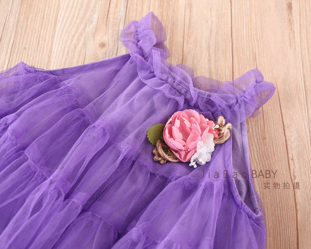 Girls Tulle Lace Party Dresses Baby Girls Princess tutu Dress with Floral Brooch Babies Spring Sleeveless Dress 2018 Kids Cloth