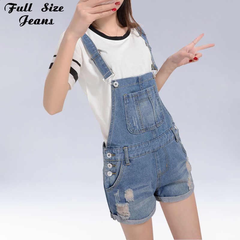 fa238e6010b Summer Korean Plus Size Light Blue Denim Jumpsuit 4XL 5XL XS Ripped Shorts  Jeans Romper Cuffed