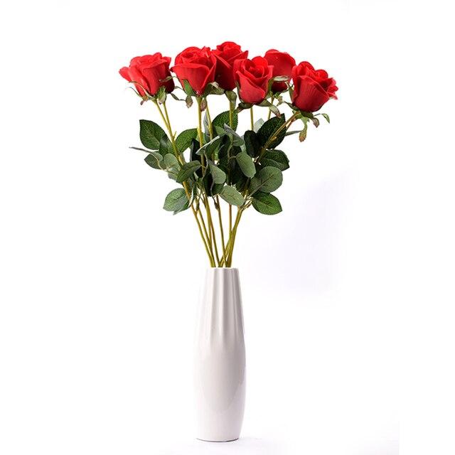 12/10pcs Artificial Red Rose Flower Wedding Bridal Bouquet ...
