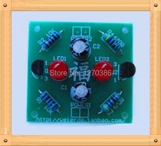 Free Shipping!!! 2pcs Flash Electronic Kits / flashing lights make / DIY electronic production suite