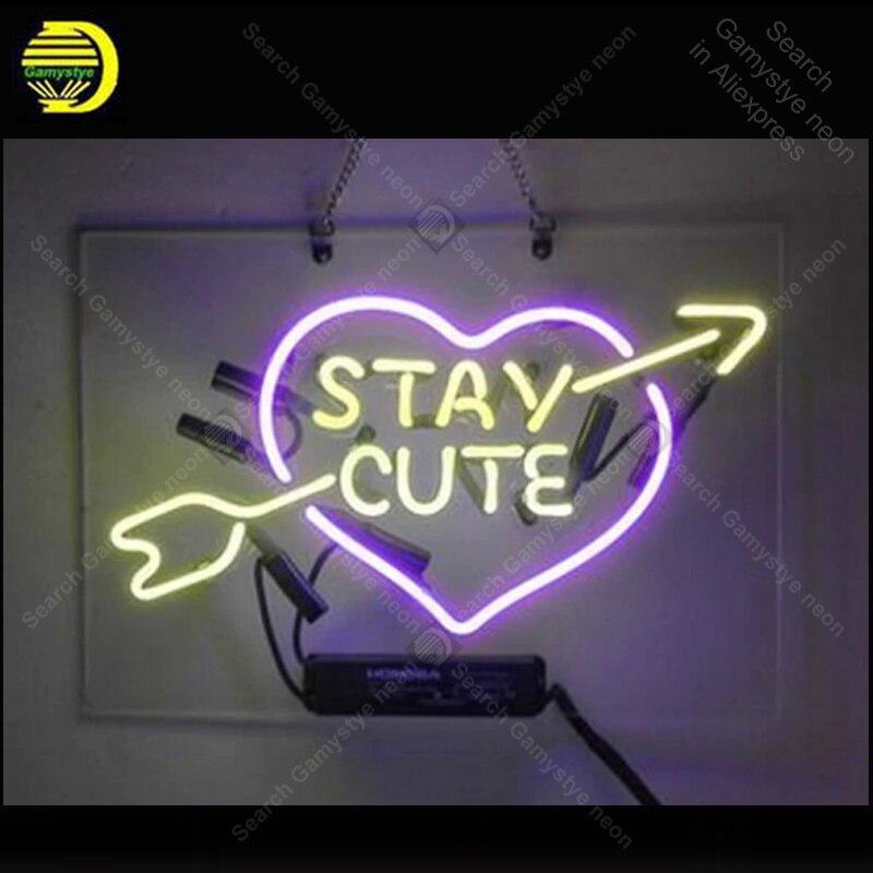 Néon signe rester mignon néon signes vrais Tubes en verre amour néon ampoule enseigne personnalisée éclairée avec panneau en plastique néon lumières à vendre